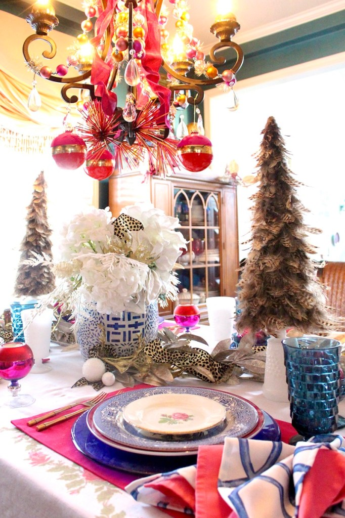 Blue an White China and Feather Tree on Colorful Christmas Table