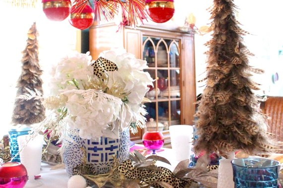Blue and White China and feather Christmas Tree