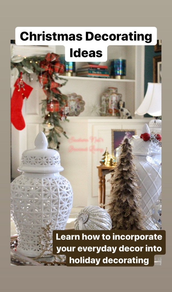 White Ginger Jar and Red Christmas Stocking