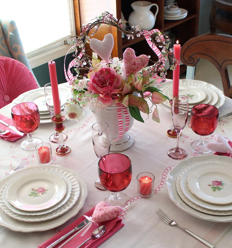 Valentine Table Setting with white and pink