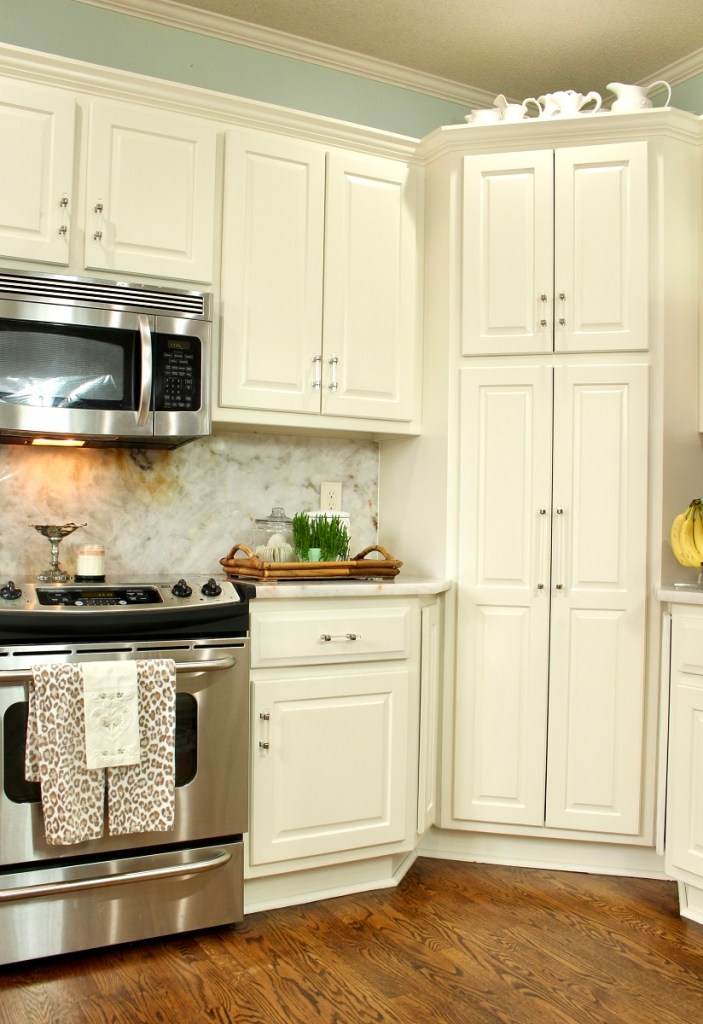 White Kitchen cabinets and stainless steal oven and microwave