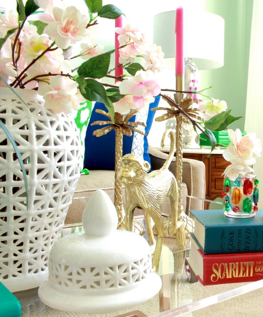 White Ginger Jar with Spring Stems