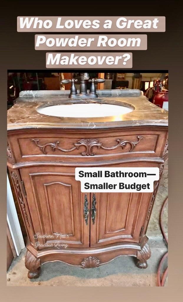 Dark Wood Bathroom Vanity with Marble Top