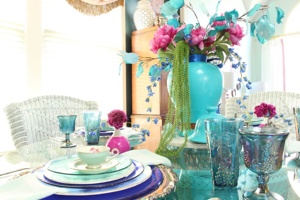 Colorful Vintage China and Turquoise Ginger Jar