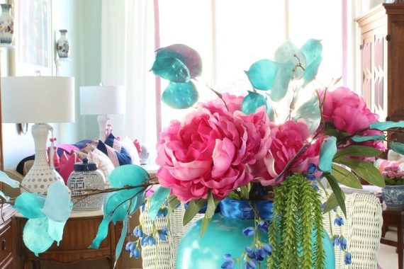 Simple & Stunning Spring Centerpiece with pink peonies