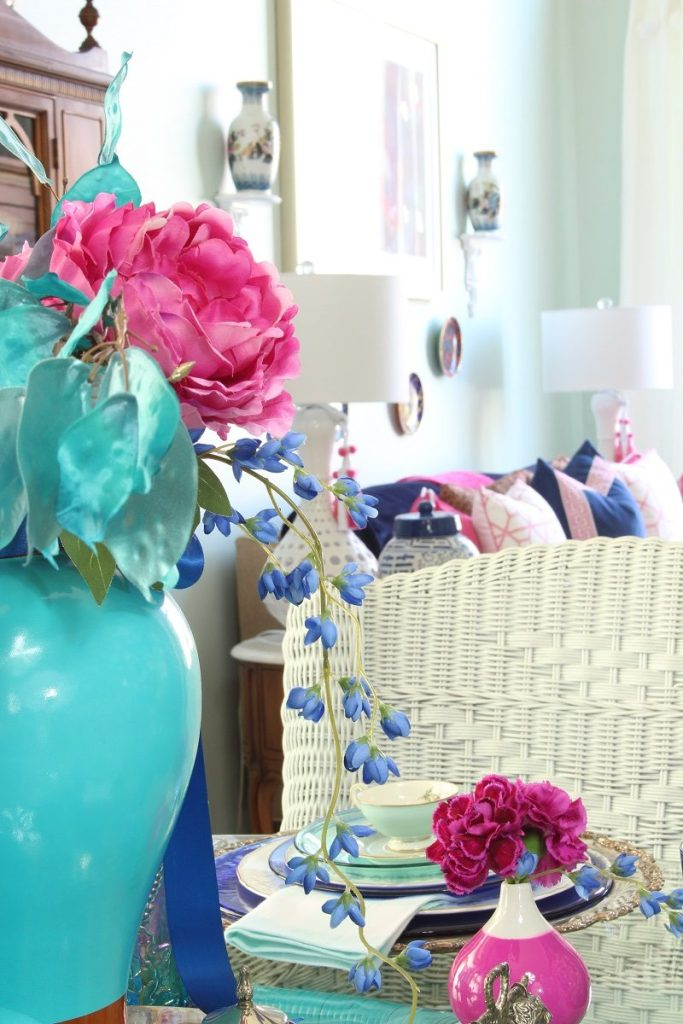 Pink Peonies in Turquoise Ginger Jar for Stunning Spring Centerpiece