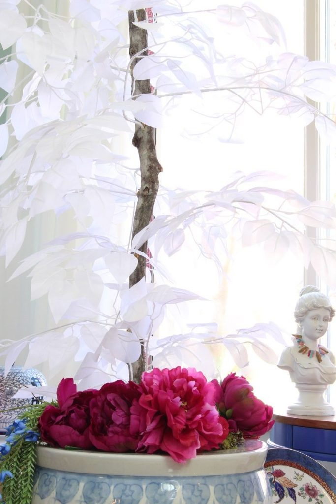 Faux White Ficus and Faux Pink Peonies in Fishbowl