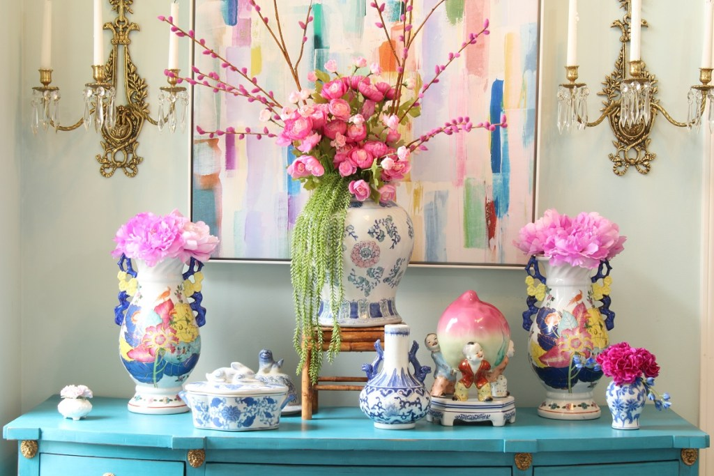 Spring Flowers on Chinoiserie Turquoise Desk