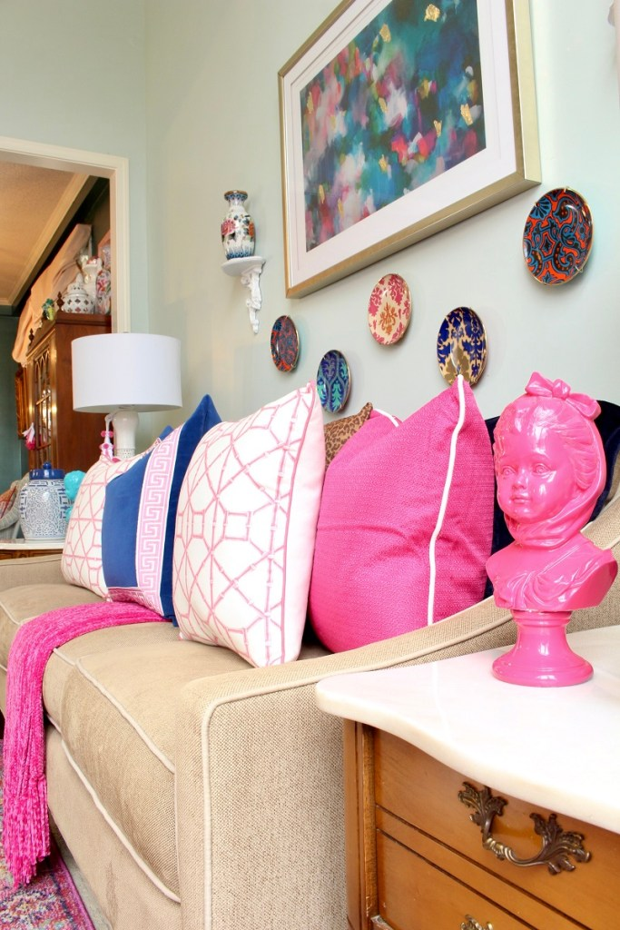 Spring Pink Pillows with Pink Girl Statue