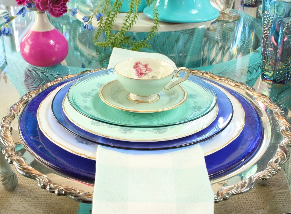Demitasse Rose Tea Cup and Vintage China with Silver Platter