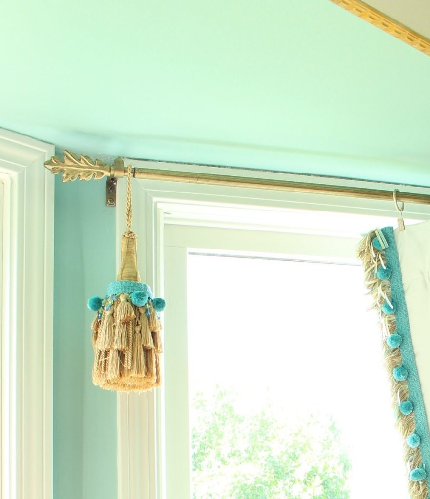 Elegant Tassel on Gold Window Hardware