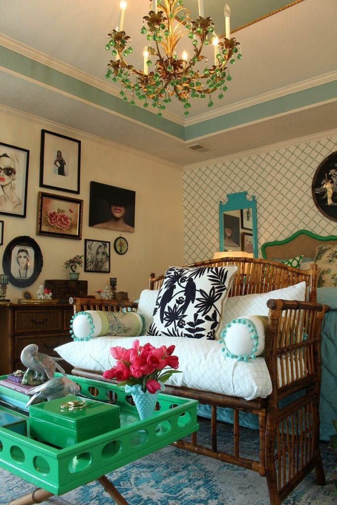 Rattan Settee in Colorful Bedroom