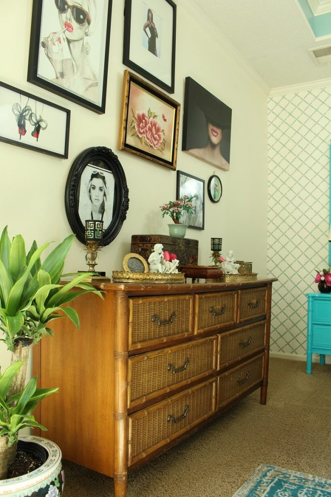 Rattan Bamboo and Wicker Vintage Dresser