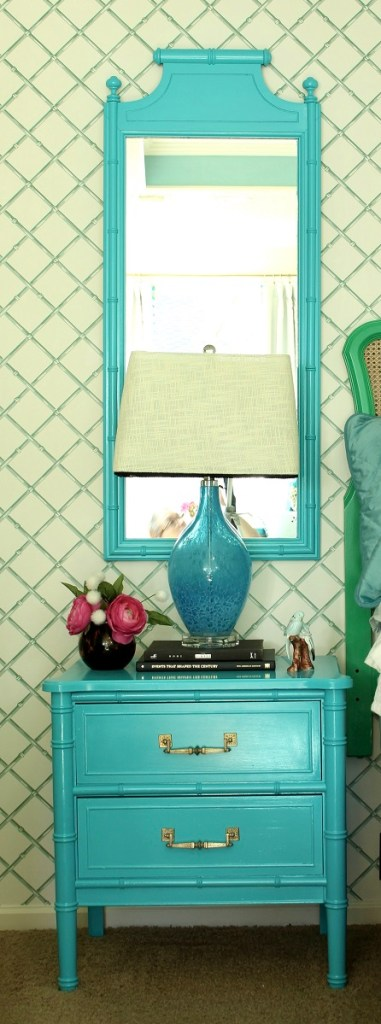Turquoise Henry Link Nightstand Makeover