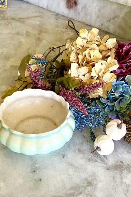 Vintage Aqua Pottery and Fall Foliage