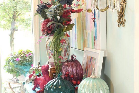 Mercury Glass Pumpkins and Fall Hydrangea