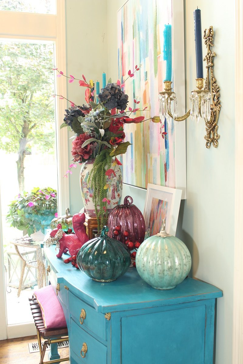 Mercury Glass Pumpkins and Fall Hydrangea