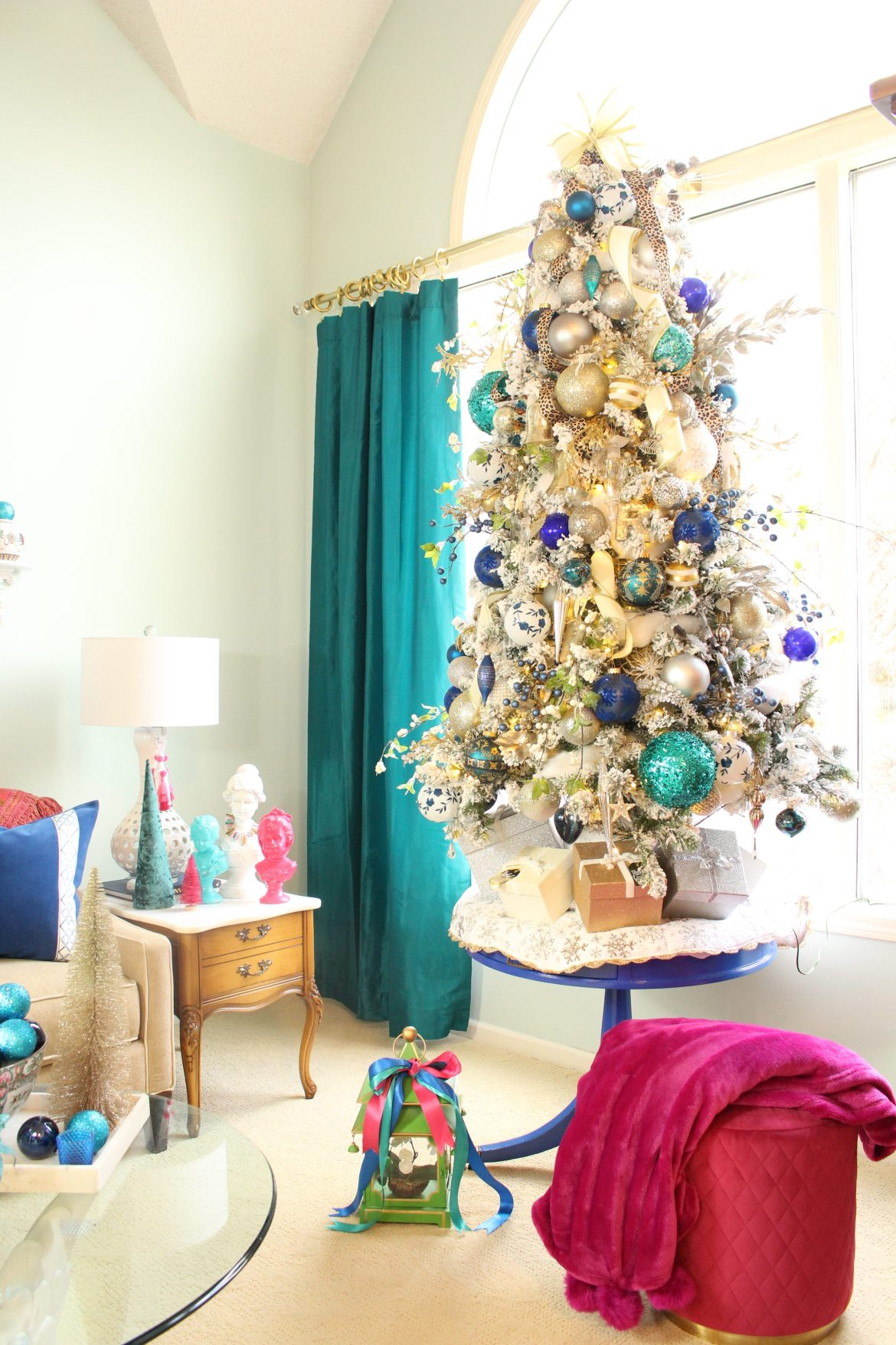 Elegant Flocked Tree with Blue and White Ornaments