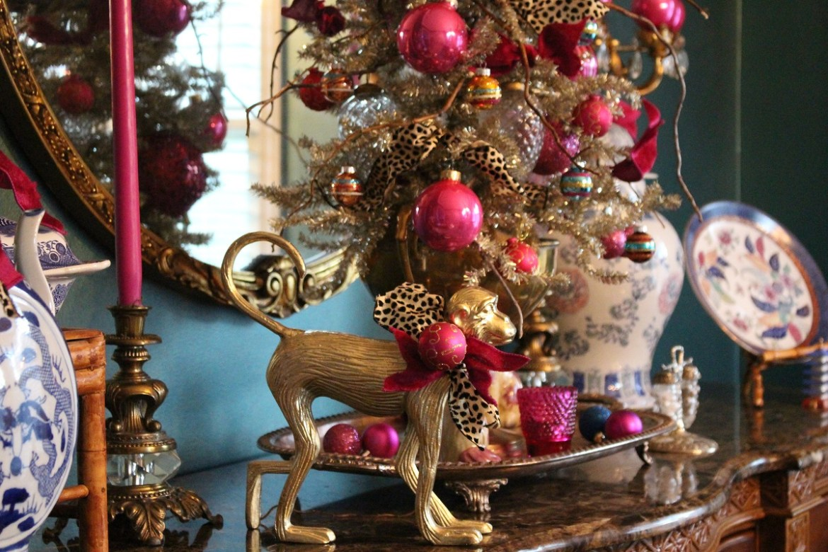 Colorful Pink and Brass Christmas Decor