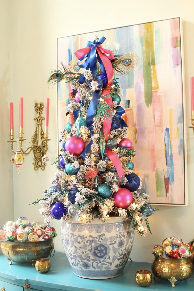 Bright Pink and Blue Christmas Color Palette