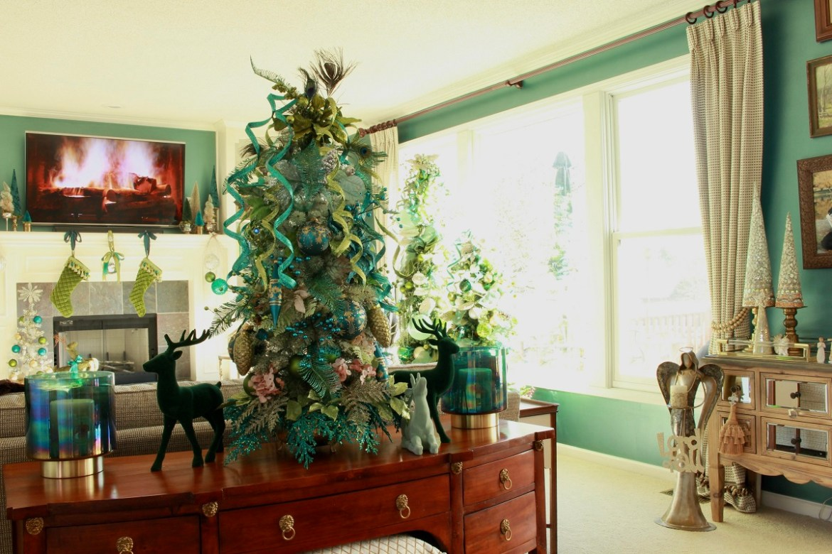 Lime Green and Teal Christmas Decor