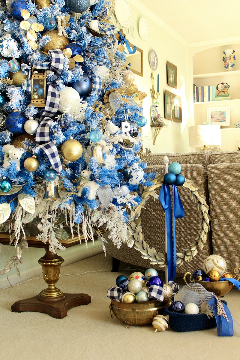 Blue White and Gold Christmas Tree