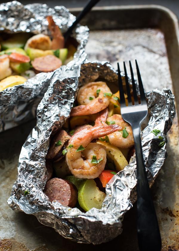 Cajun Shrimp Sausage & Veggie Foil Packets