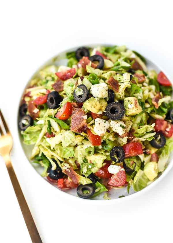 """BLT"" Shaved Brussel Sprouts Chopped Salad"