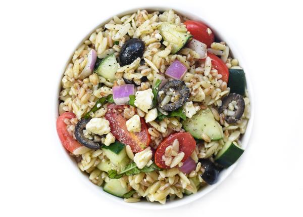 mediterranean protein power pasta salad