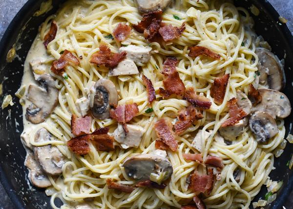 Creamy Chicken, Bacon & Mushroom Carbonara