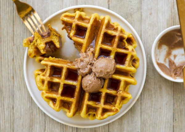Pumpkin Spice Waffles with Cinnamon Honey Butter
