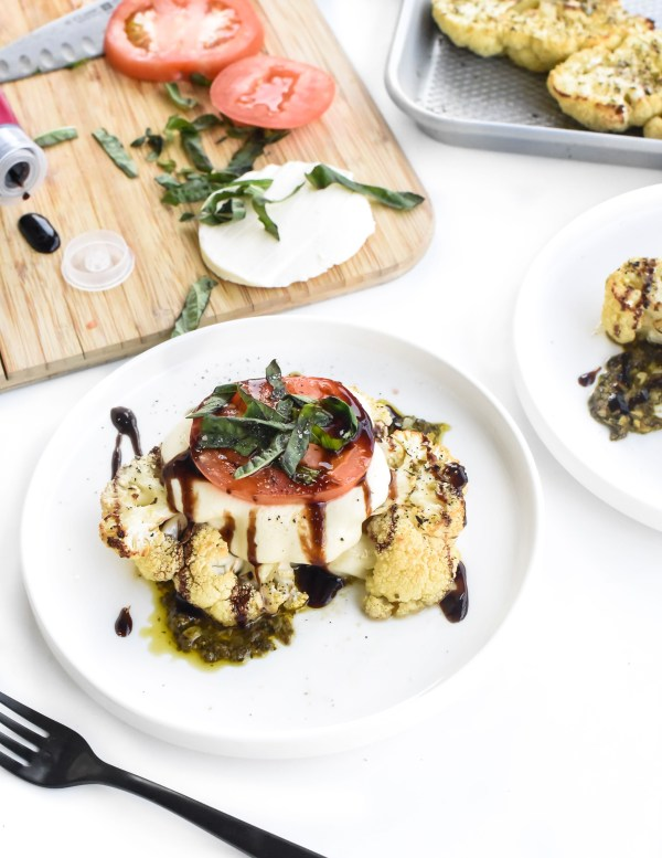 Roasted Caprese Cauliflower Steaks