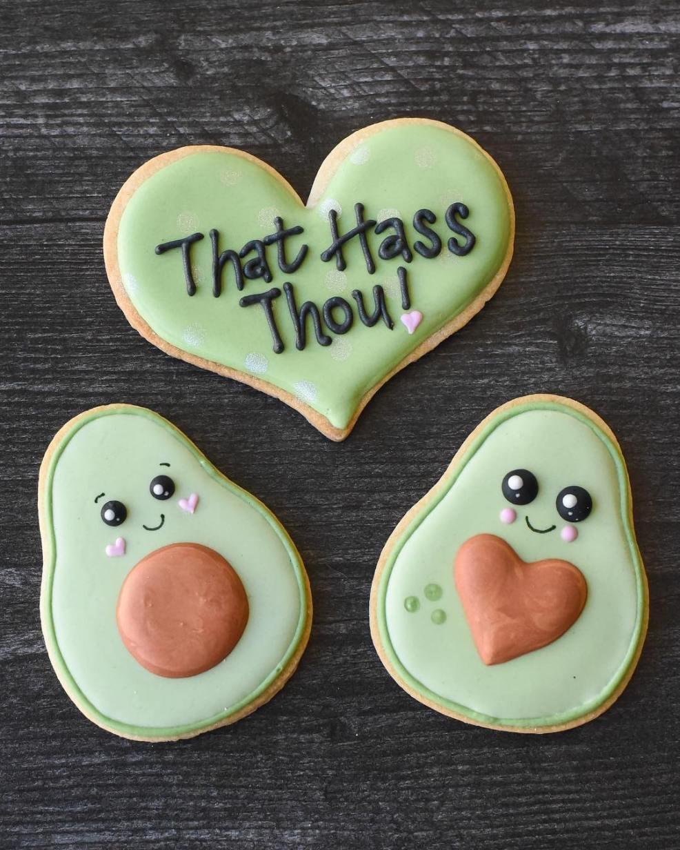 avocado vday cookie