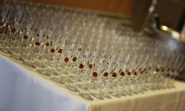 champagne bar at reception | msu riley center