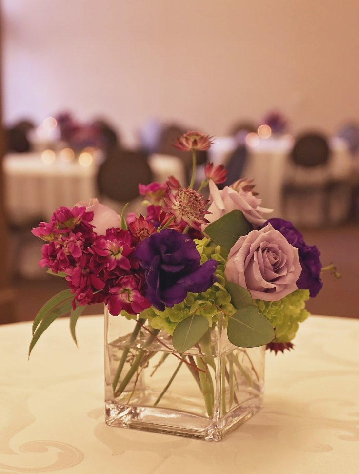 meridian ms florist | purple centerpiece