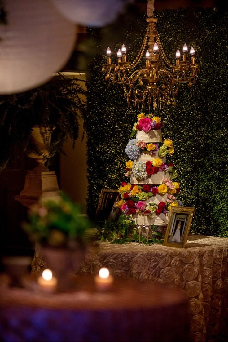 Greenery Backdrop for Wedding Cake at MSU Riley Center Wedding