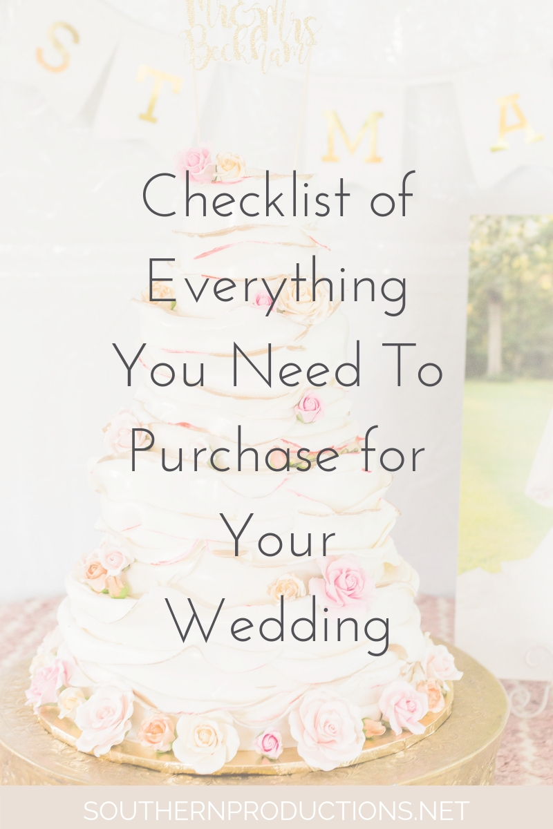 Wedding Checklist Items to Purchase