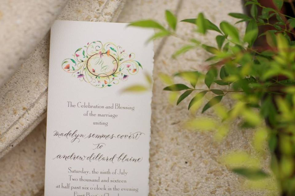 Mississippi Wedding Calligrapher Sterling Calligraphy