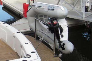 Stainless dinghy snap davit mounts and support