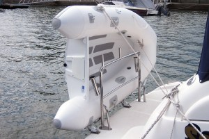 Stainless dinghy snap davit mounts, rod holders and welded pins