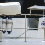 Stainless gas bottle holder, removable pins and rod holders