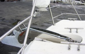 Australian made Stainless anchor roller on bow of a boat