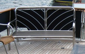 Stainless Steel Furniture, Detailed stainless couch on back of boat