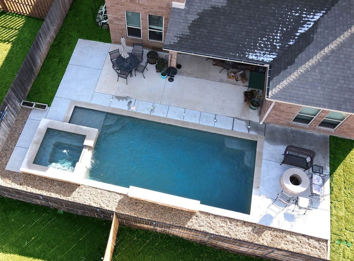 drone photo of pool install