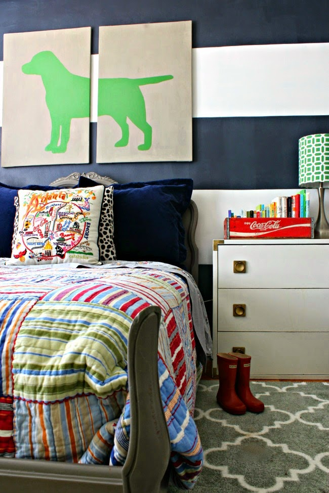 preppy eclectic big boy room reveal