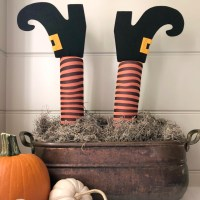 DIY Witch Legs Planter Stakes