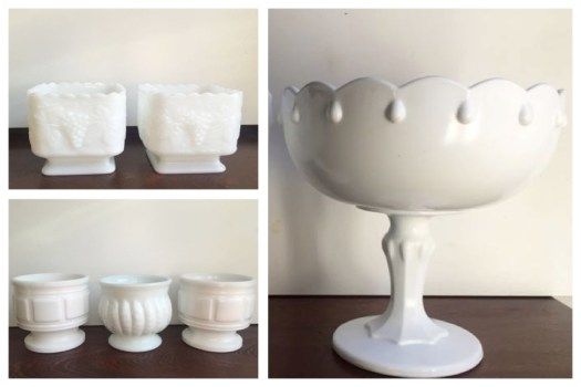 Milk Glass Compotes Rental