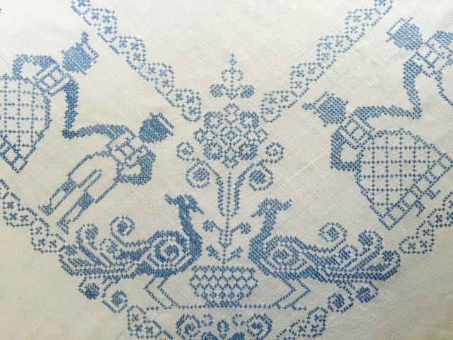 Cotton - Blue Embroidered Tablecloth