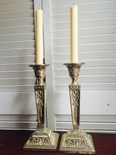 Silver Orate Candleholders