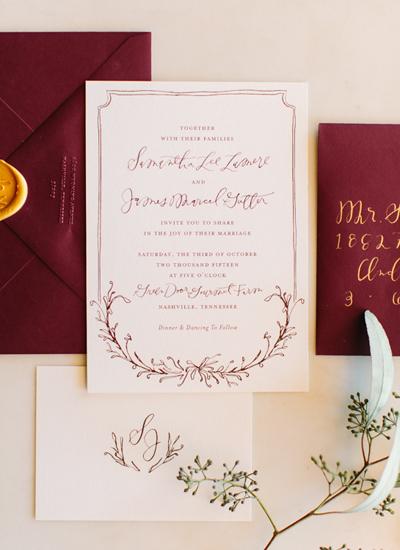 Rustic Jewel Tone Berry Wedding Invitation Suite